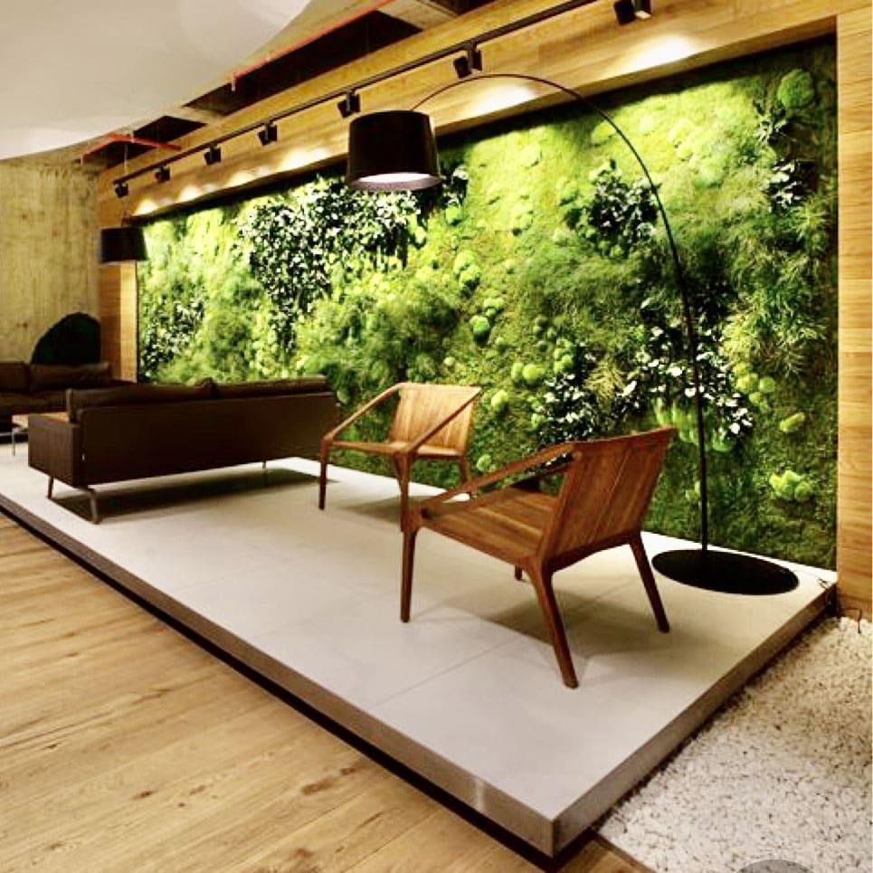 Aménagement mur végétal dans un hall de bureau