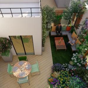 Plan 3D réalisé par le bureau d'étude Terrasse et jardin de Paris