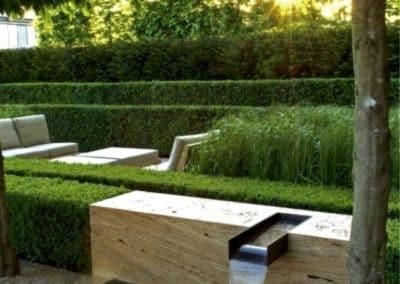 Conception jardin avec fontaine moderne d'un hôtel de luxe