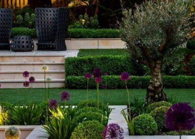 Conception jardin contemporain avec marches éclairées à Paris