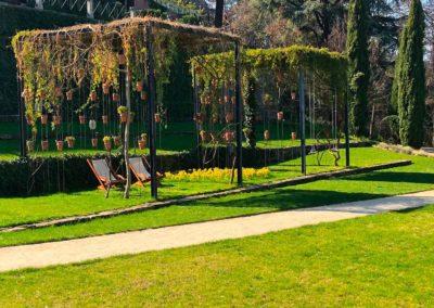 Création d'une pergola orignale composée de plantes et pots suspendus