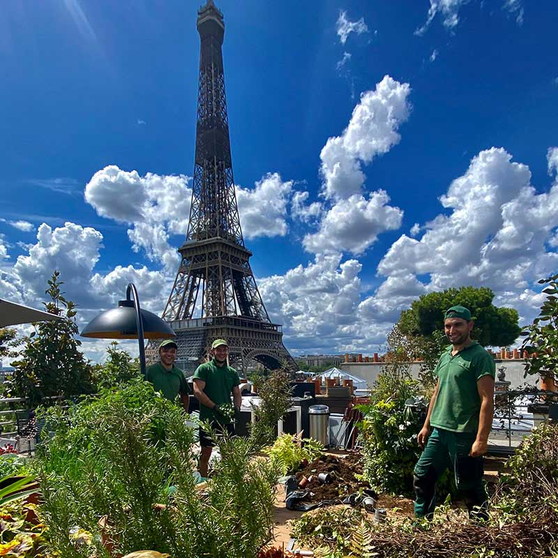 Équipe de jardiners Terrasse et jardin de Paris