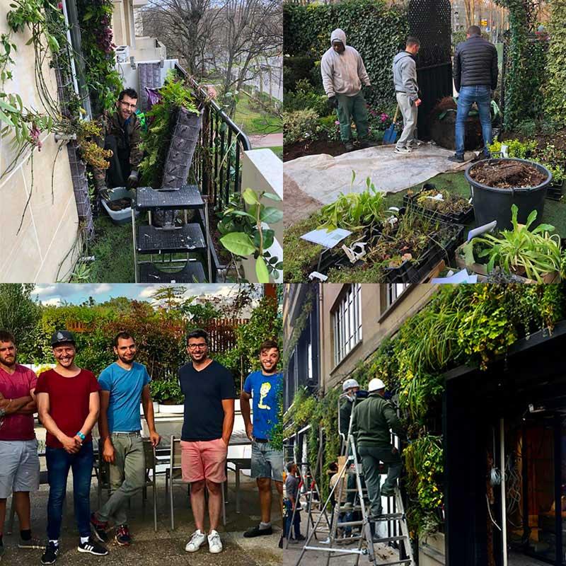 Équipe de jardiners en plein travail sur balcon jadin et mur végétal