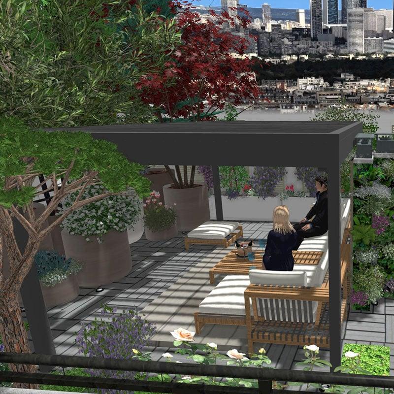 Simulation 3D d'un toit-terrasse avec pergola réalisé par Terrasse et jardin de Paris